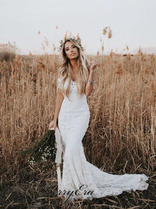 Off Shoulder Long Mermaid Lace Wedding Dresses, Country Wedding Dresses