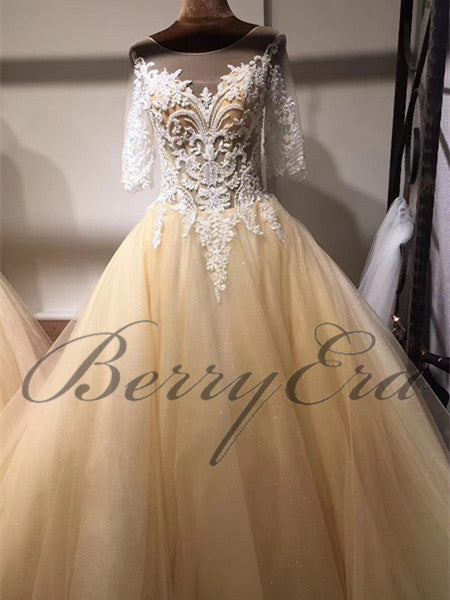 Gorgeous Lace Half Sleeves Chmapagne Tulle Wedding Dresses, Elegant Bridal Gown