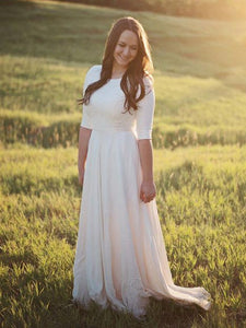 Half Sleeves Lace Top Chiffon Skirt Long Country Wedding Dresses