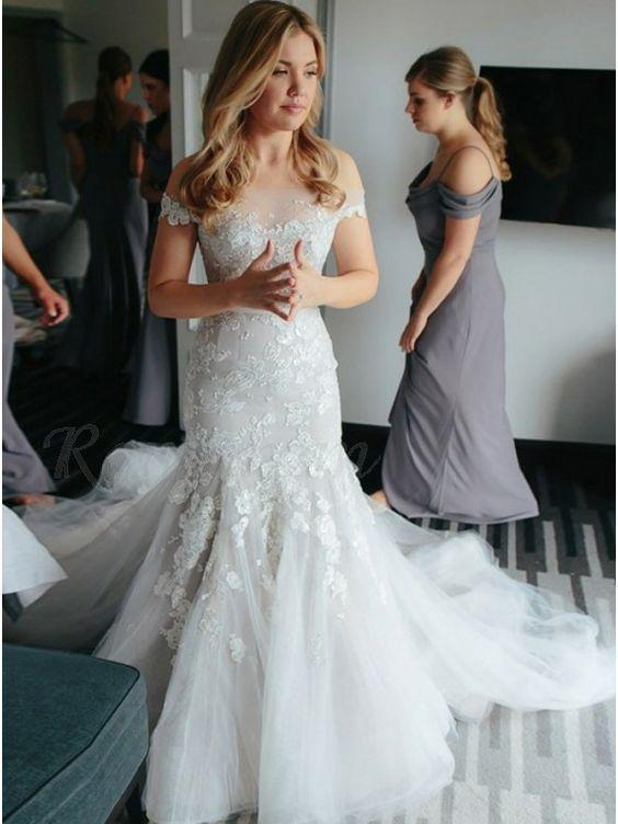 Off Shoulder Lace Mermaid Long Train Wedding Dresses, Bridal Gown