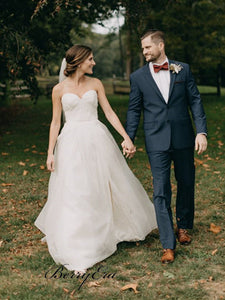 Sweetheart A-line Simple Tulle Wedding Dresses, Long Wedding Dresses, Bridal Gown