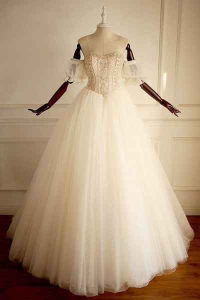 Sweetheart  Beaded Long A-line Wedding Dresses