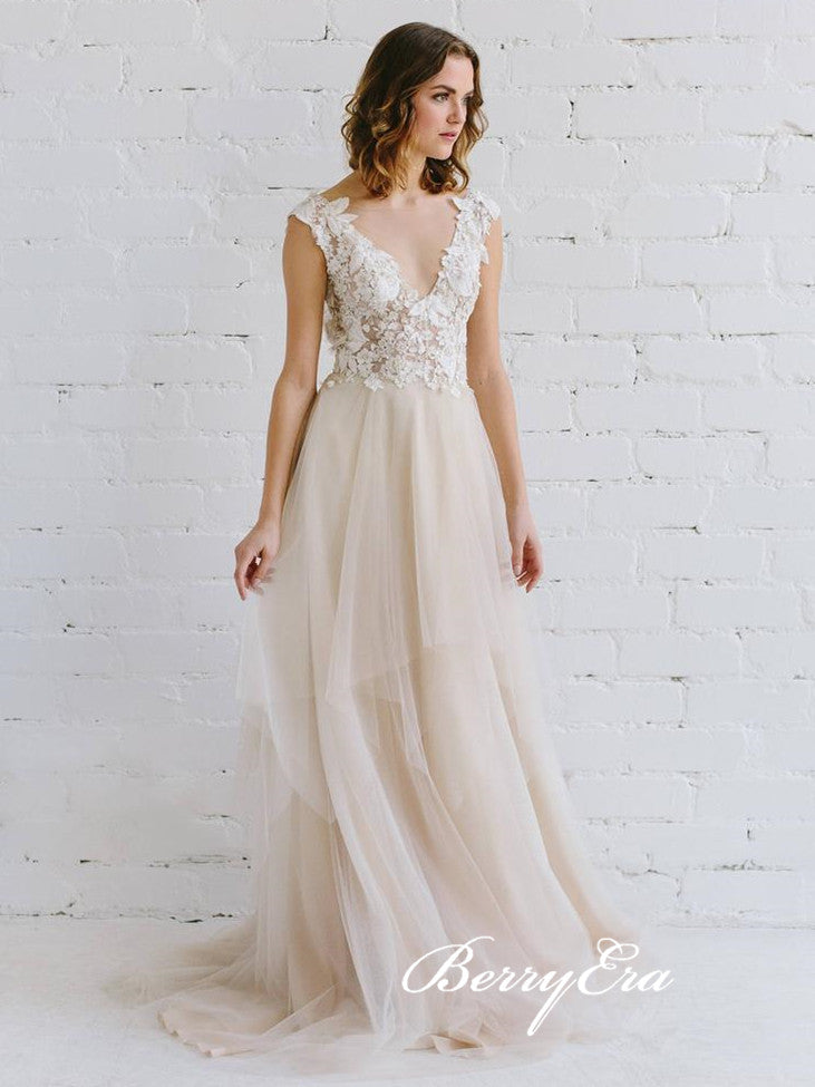 V-neck Lace Top A-line Tulle Wedding Dresses, Bridal Gown(With Veil)