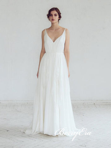 V-neck A-line Long Ivory Chiffon Lace Wedding Dresses
