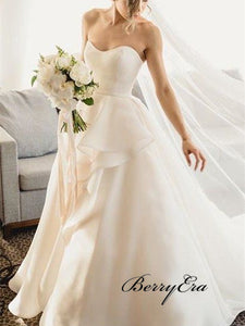 Sweetheart Long A-line Chic Design Ivory Long Wedding Dresses