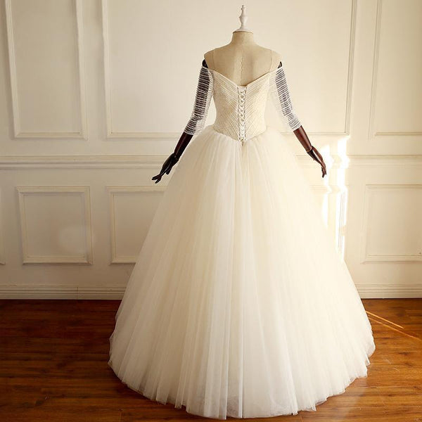 Half Sleeves Long A-line Tulle Beaded Wedding Dresses