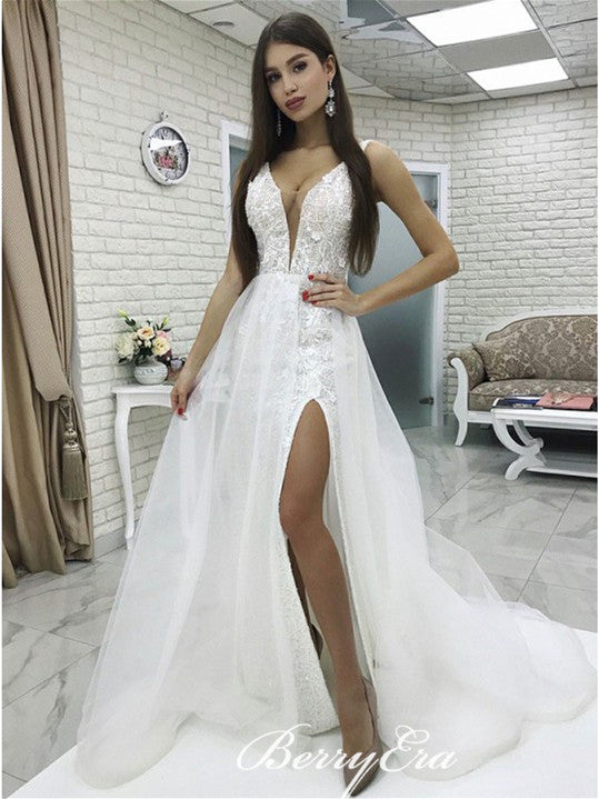 V-neck Lace Tulle Side Slit Long Wedding Dresses, Simple Bridal Gown
