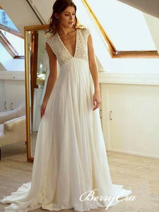 V-neck Lace Top A-line Chiffon Skirt Wedding Dresses