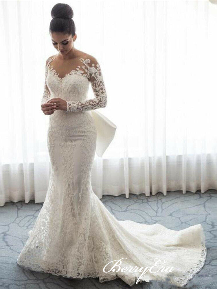 Gorgeous Long Mermaid 2 Pieces Lace Wedding Dresses, Luxury Bridal Gown