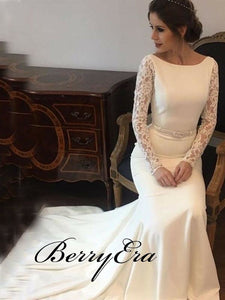 Long Sleeves Lace Ivory Mermaid Wedding Dresses Bridal Gown Dresses