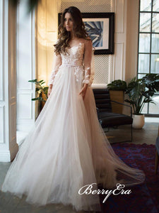 Long Sleeves Lace Tulle Long Wedding Dresses