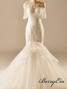 Off Shoulder Long Mermaid Short Sleeves Ivory Lace Tulle Wedding Dresses