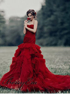 Sweetheart Long Mermaid Tulle Wedding Dresses, Red Wedding Dresses