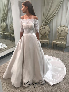 Off Shoulder Half Sleeves Lace Top Satin Skirt Wedding Dresses