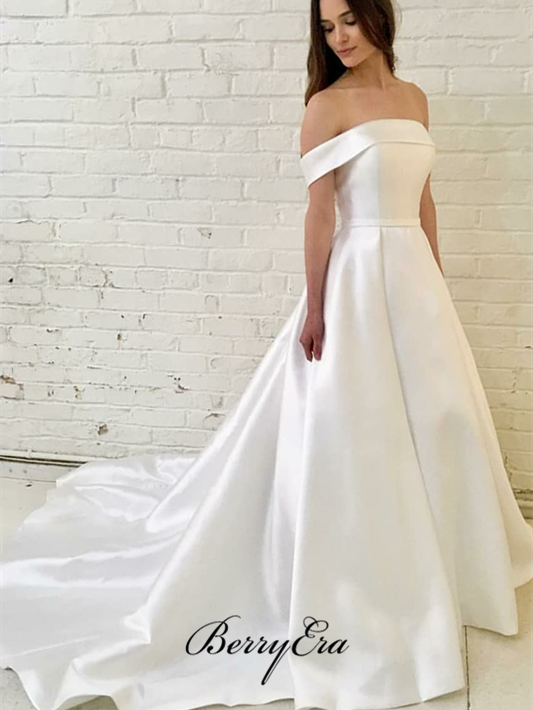 Off Shoulder A-line Ivory Satin Wedding Dresses, Bridal Gown