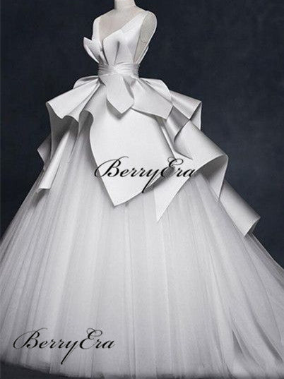 Elegant Long Ball Gown Wedding Dresses, Tulle Satin Wedding Dresses, Bridal Gown
