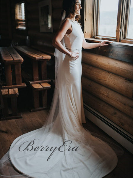 Simple Off White Mermaid Wedding Dresses, Affordable Country Wedding Dresses