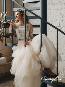 2 Pieces Lace Top A-line Tulle Skirt Long Wedding Dresses, Bridal Gown