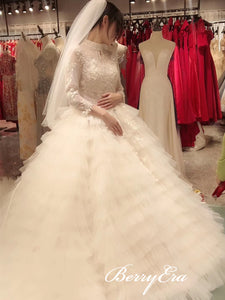 High Neck Beaded Lace Fluffy Tulle Wedding Dresses, Long Sleeves Bridal Gown, Long Wedding Dresses