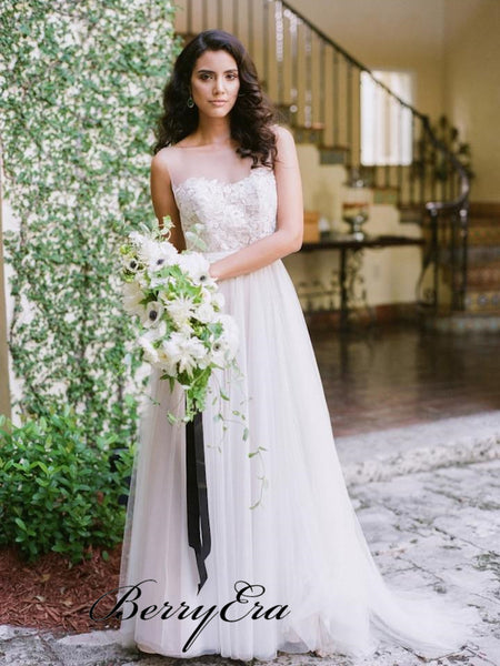 See Through Lace Top A-line Tulle Wedding Dresses, Bridal Gown