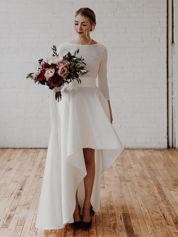 Long Sleeves Hi-low Jersey Wedding Dresses, Simple Design Bridal Gown