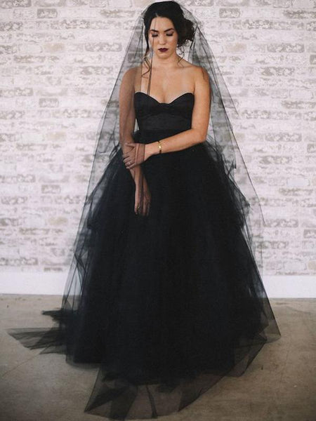 Sweetheart Long A-line Black Tulle Wedding Dresses, Bridal Gown