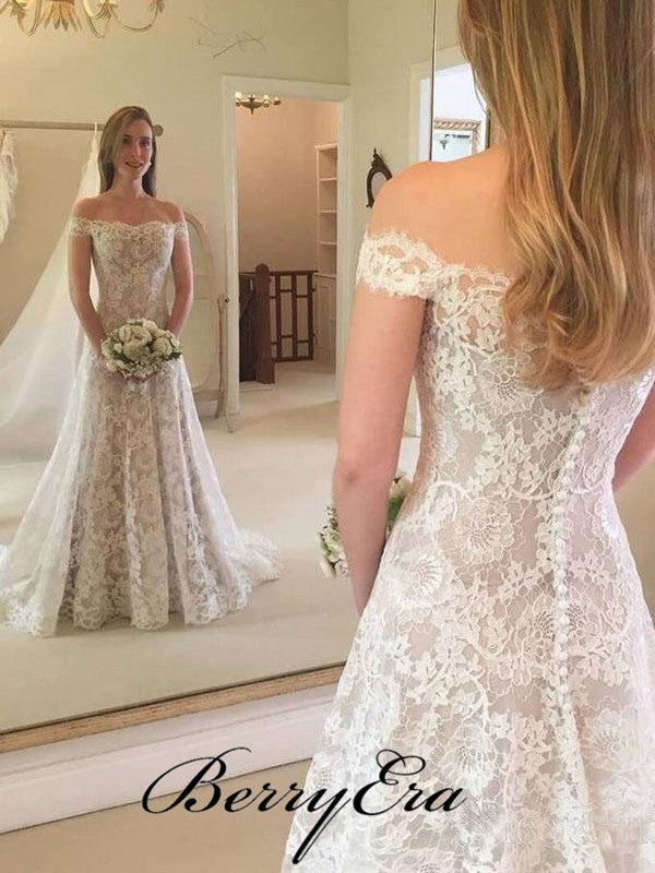 Off Shoulder Long Mermaid Lace Wedding Dresses, Bridal Gown