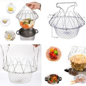 Stainless Steel Foldable Mesh Basket Colander Strainer Net - systematicshop.com