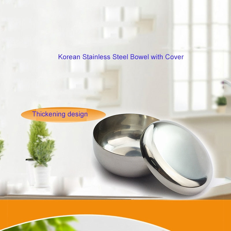 Stainless Steel Bowl Korean Big Cooked  Rice Bowl with Cover - systematicshop.com