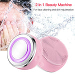 2in1 LED Light Silicone Heating Face Cleanser Massage Facial Cleaning Skin Scrub - systematicshop.com