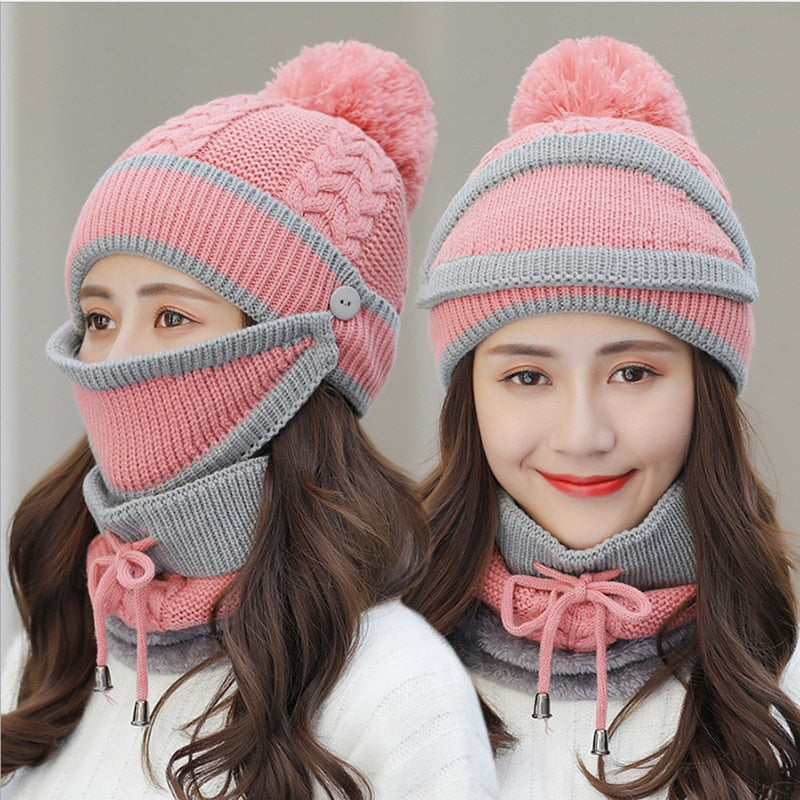 Women Winter Warm Knitted Beanies Set