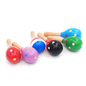 1pc Infant & Toddlers Wood Sand Hammer Wooden Maraca Rattles - systematicshop.com