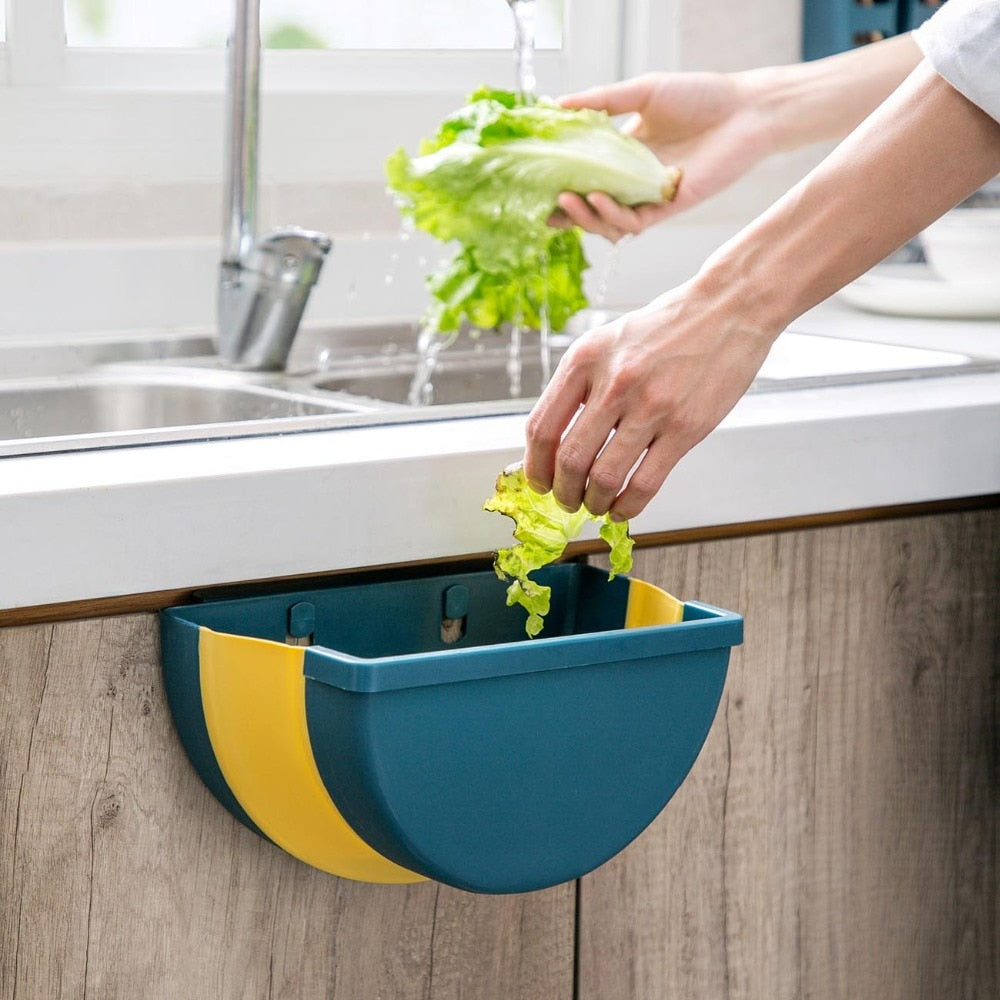 Folding Waste Bin Kitchen Hanging Trash Can - systematicshop.com