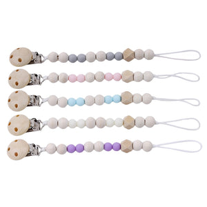 Baby Pacifier Clip Chain Wooden Holder - systematicshop.com