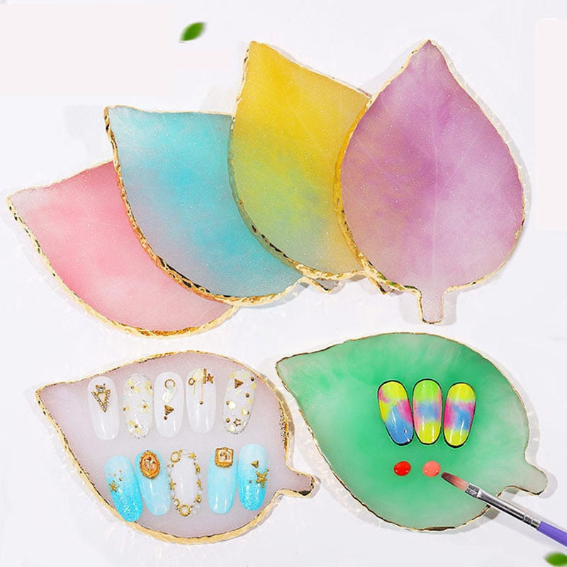 Resin Stone Color Palette False Nail Tips