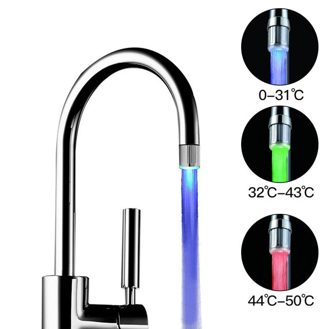 LED Luminous Faucet Tap Nozzle RGB Color Light Blinking Temperature