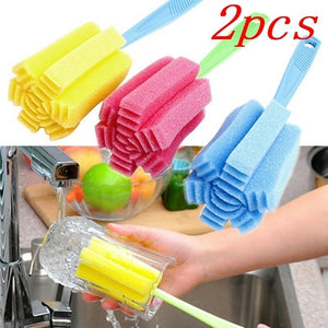 2 pcs Kitchen Cleaning Tool Sponge Brush for Wineglass Bottle Coffee Tea Glass Cup