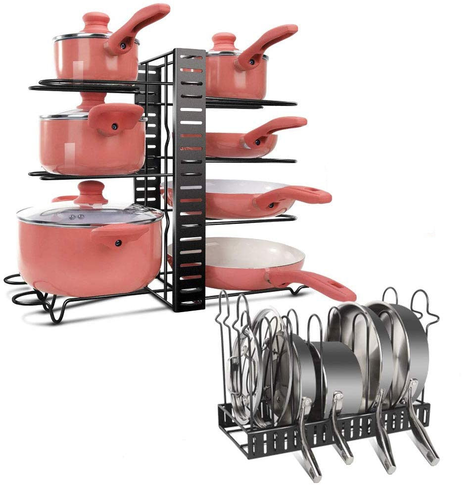 Pan Organizer Rack with 8 Tires Adjustable Cookware