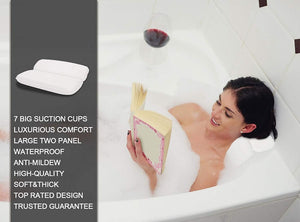 Bathroom Pillow Cushion With Suction Cups Neck And Back Support Headrest - systematicshop.com