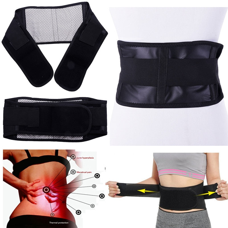 Adjustable Waist Back Support with Self-Heating Magnetic Therapy - systematicshop.com