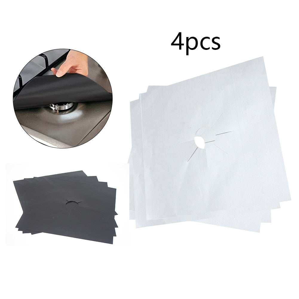 4PCS Set Reusable Foil Cover Gas Stove Protector - systematicshop.com