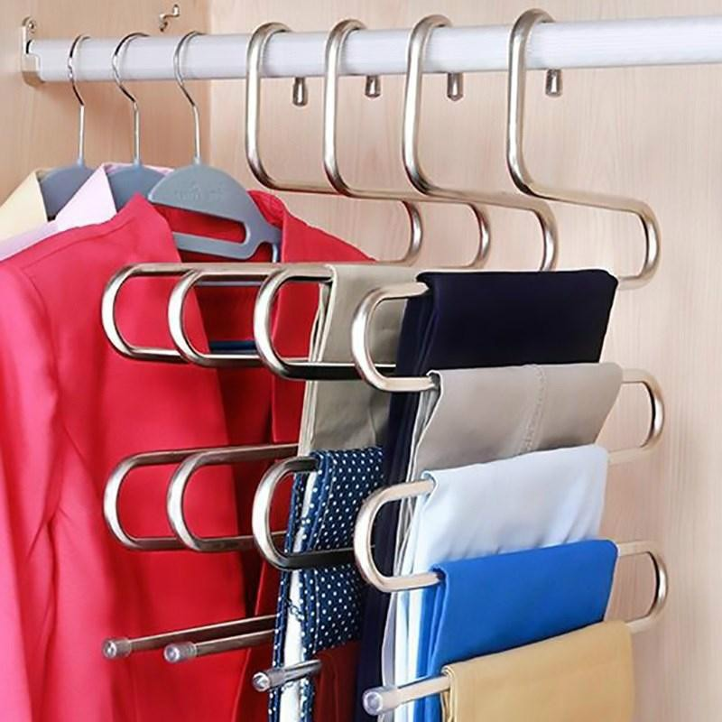 Multi-functional S-type trouser rack stainless steel hanger - systematicshop.com