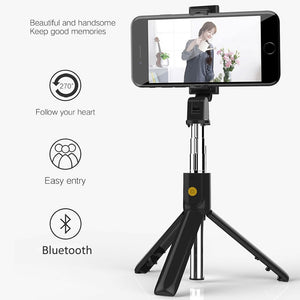 3 in 1 Wireless Bluetooth Selfie Stick With Tripod Shutter Remote Control - systematicshop.com