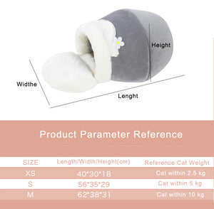 Foldable Winter Warm Cat Bed Plush Soft Cave Sleeping Pet Bed - systematicshop.com