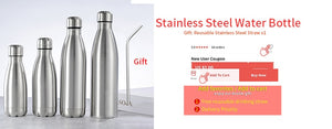 500/1000ml Stainless Steel Portable Water Drinking Bottle - systematicshop.com