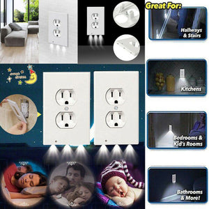 Outlet Wall Plate With LED Night Lights Ambient Light Sensor - systematicshop.com