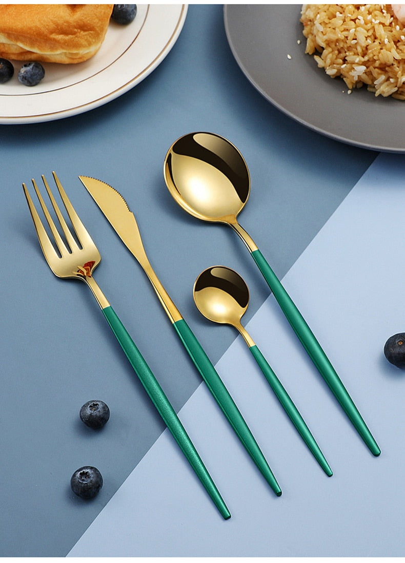 Stainless Steel Black Gold Cutlery Set Dinnerware