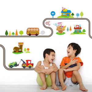 Cartoon Car Road Pattern Removable Wall Stickers - systematicshop.com