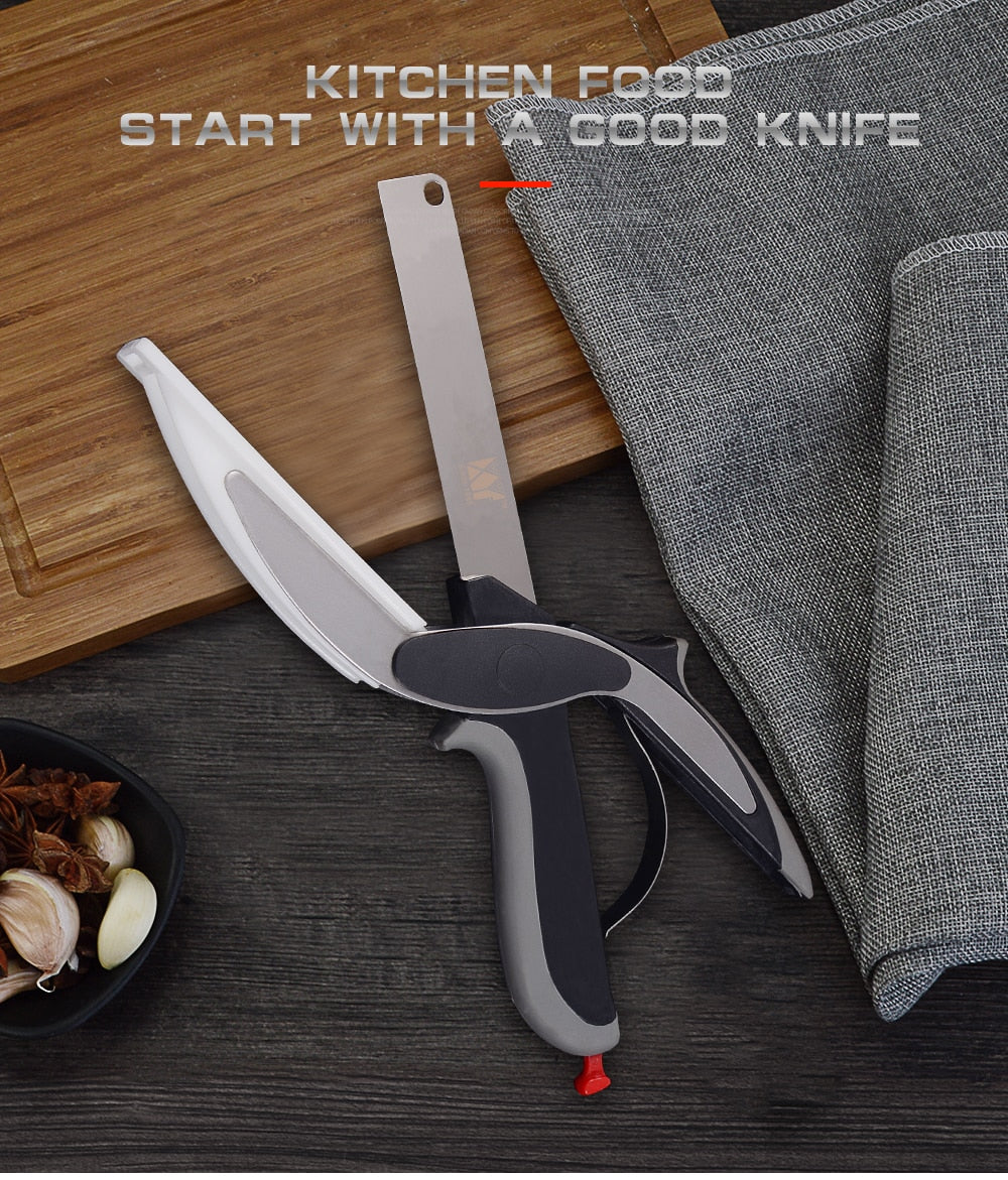 Stainless Steel Smart Scissors 2 in 1 Cutting Board Kitchen Chopper - systematicshop.com