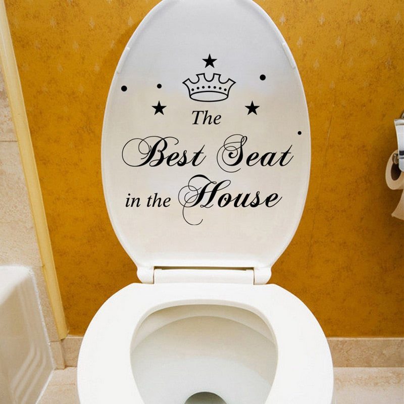 Best Seat in the House characters Crown Toilet Stickers Bathroom Home Decoration